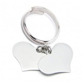 Anello donna in argento 925% rodiato oro bianco con 2  Cuore pendenti personalizzabile