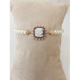 Bracciale donna in argento 925% dorato con perle e cammeo  B11-G Cameo Italiano