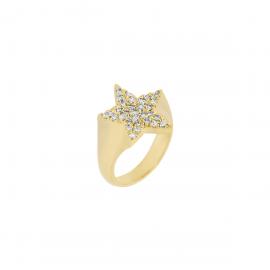 Anello Donna stella in argento 925% con bagno in oro giallo impreziosito da un pavè di zirconi bianchi.