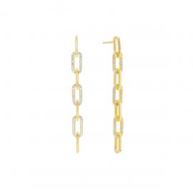 Orecchini Donna a catena in argento 925% dorato con zirconi Lauren P.  OR0131GB