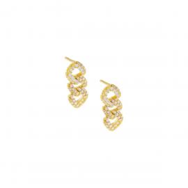 Orecchini donna a groumette in argento 925% con bagno in oro giallo