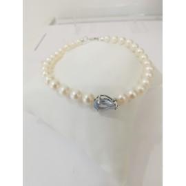 Collana donna con perle di acqua dolce mm 5,5/6  CL142 con elementi in oro bianco 18 kt