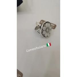Anello Donna Cameo Italiano in argento 925% Rodiato oro bianco