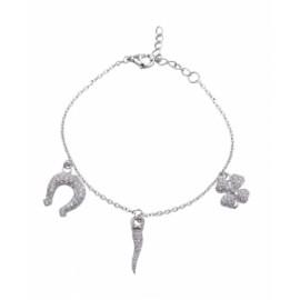 Bracciale Donna Fogi Silver925 con charms pendenti portafortuna